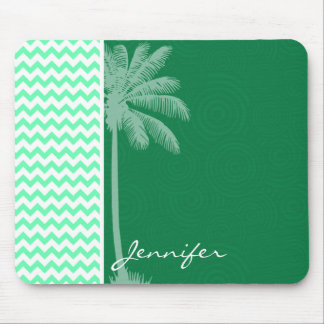 Tropical Green Chevron Mouse Pad