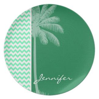 Tropical Green Chevron Party Plates