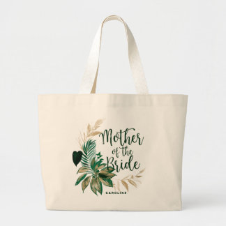 Tropical Green Foliage Wreath Mother of the Bride Large Tote Bag