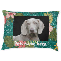 Tropical Green Glitter Design With Your Pets Photo Pet Bed