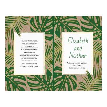 Tropical green gold rustic bi-fold wedding program