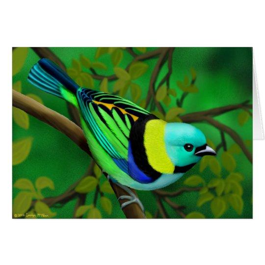 Tropical Green Headed Tanager Bird Card