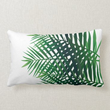 Beach Themed Tropical Green Island Ferns Lumbar Pillow