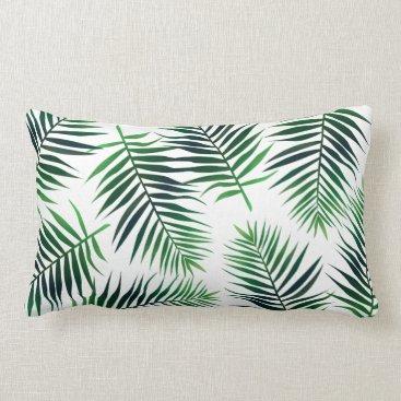 Beach Themed Tropical Green Island Palm Leaves Lumbar Pillow