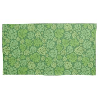 Tropical Green Jungle Leaves King Pillowcase