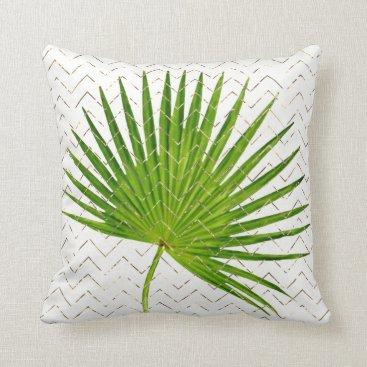 Beach Themed Tropical Green Leaf  Golden Chevron Zig Zag White Throw Pillow
