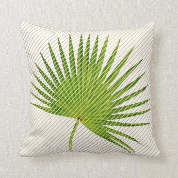 Beach Themed Tropical Green Leaf  Golden Geometry Stripes White Throw Pillow