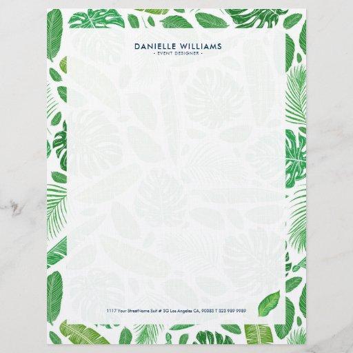 Tropical green leafs pattern letterhead
