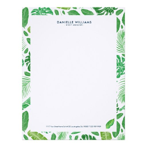Tropical green leafs pattern letterhead