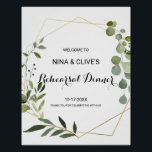 "Tropical Green Leaves Rehearsal dinner Welcome Poster<br><div class=""desc"">This tropical green leaves rehearsal dinner welcome poster is perfect for a simple rehearsal dinner. The design features hand-painted beautiful green leaves,  adorning a gold geometric frame.</div>"