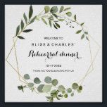 """Tropical Green Leaves Rehearsal dinner Welcome Poster<br><div class=""""desc"""">This tropical green leaves rehearsal dinner welcome poster is perfect for a simple rehearsal dinner.  The design features hand-painted beautiful green leaves,  adorning a gold geometric frame.</div>"""