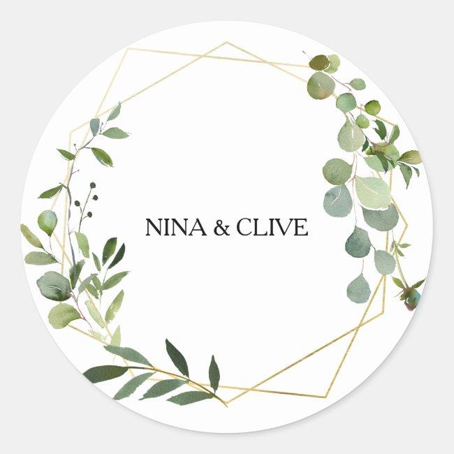 Tropical Green Leaves Wedding Envelope Seals