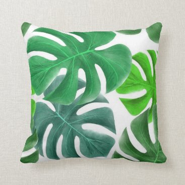 Tropical Green Leaves White Background Throw Pillow