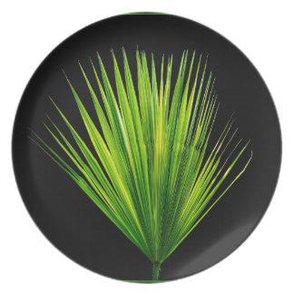 Tropical Green Palm Leaf Black Background Melamine Plate