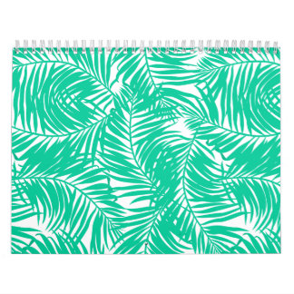 Tropical green palm leaves calendar