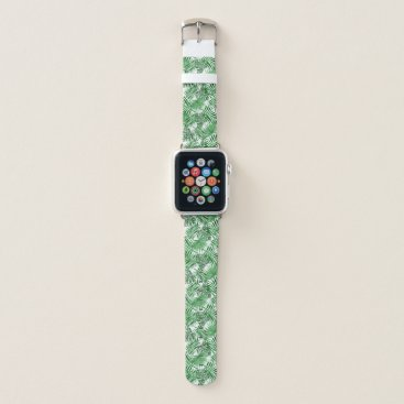 Beach Themed Tropical Green Palm Leaves Summer Pattern Apple Watch Band