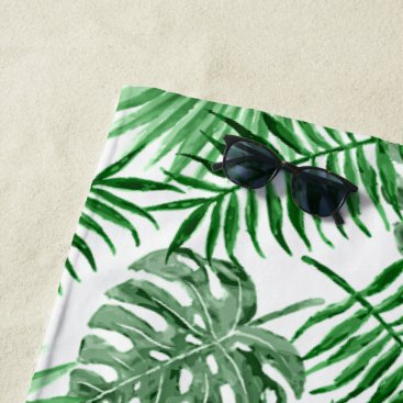 Beach Themed Tropical Green Palm Leaves Summer Pattern Beach Towel