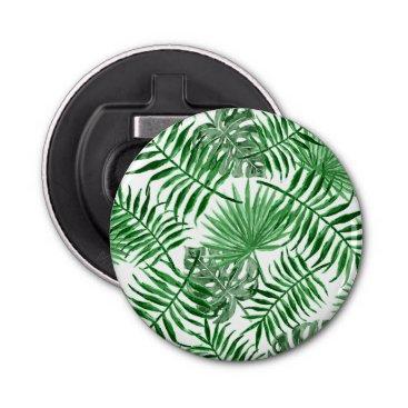 Beach Themed Tropical Green Palm Leaves Summer Pattern Bottle Opener