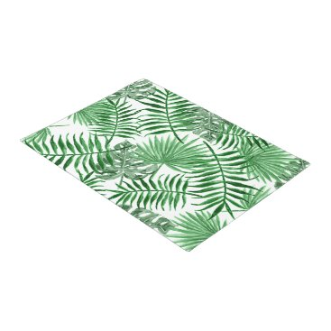Beach Themed Tropical Green Palm Leaves Summer Pattern Doormat