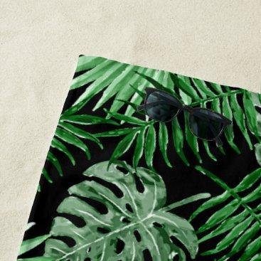 Beach Themed Tropical Green Palm Leaves Summer Pattern On Black Beach Towel