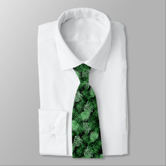 Tropical Green Palm Leaves Summer Pattern On Black Neck Tie