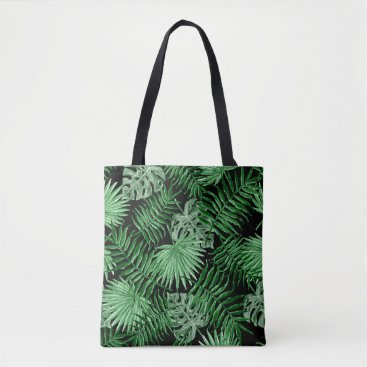 Beach Themed Tropical Green Palm Leaves Summer Pattern On Black Tote Bag