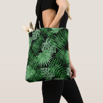 Tropical Green Palm Leaves Summer Pattern On Black Tote Bag
