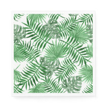 Tropical Green Palm Leaves Summer Pattern Paper Napkin