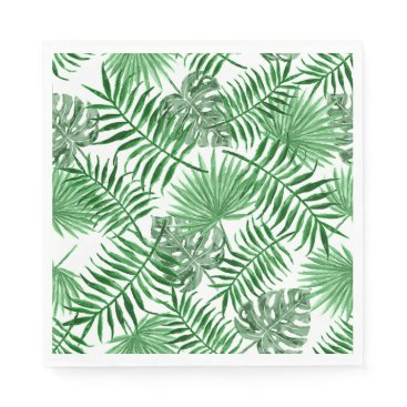Beach Themed Tropical Green Palm Leaves Summer Pattern Paper Napkin