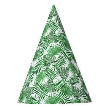 Beach Themed Tropical Green Palm Leaves Summer Pattern Party Hat