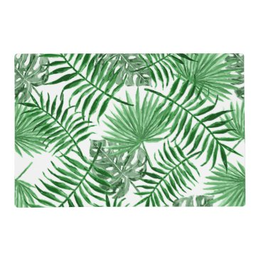 Beach Themed Tropical Green Palm Leaves Summer Pattern Placemat