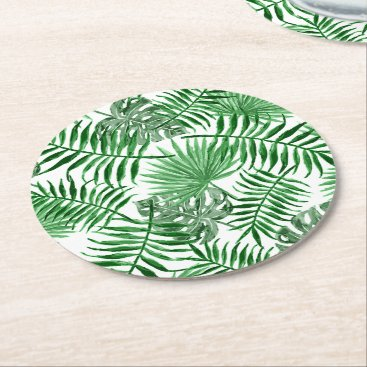 Beach Themed Tropical Green Palm Leaves Summer Pattern Round Paper Coaster