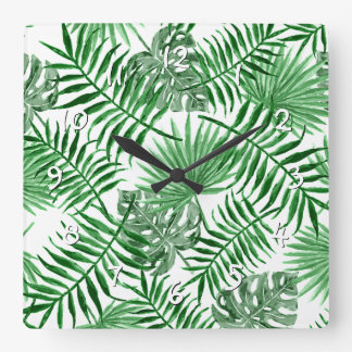 Tropical Green Palm Leaves Summer Pattern Square Wall Clock