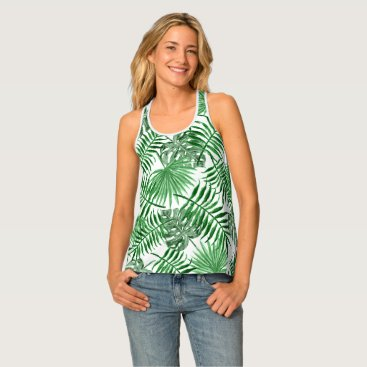 Beach Themed Tropical Green Palm Leaves Summer Pattern Tank Top