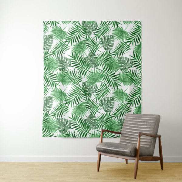 Tropical Green Palm Leaves Summer Pattern Tapestry