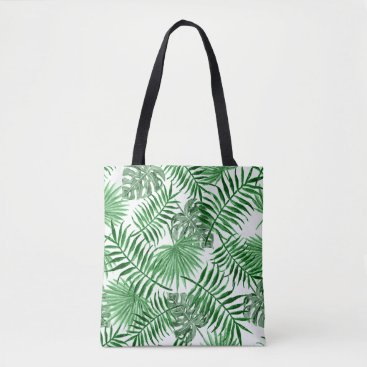 Beach Themed Tropical Green Palm Leaves Summer Pattern Tote Bag
