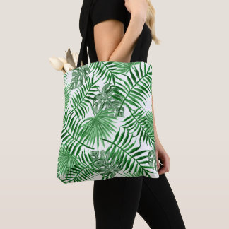 Tropical Green Palm Leaves Summer Pattern Tote Bag