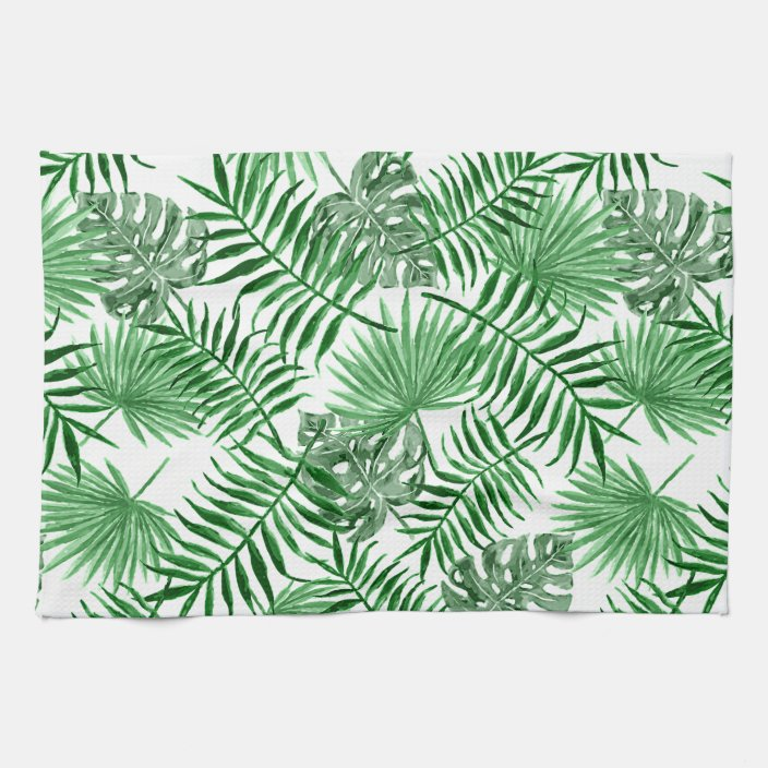 Tropical Green Palm Leaves Summer Watercolor Art Kitchen Towel Zazzle Com These can be used in all your videos. tropical green palm leaves summer watercolor art kitchen towel zazzle com
