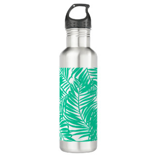 Tropical green palm leaves water bottle