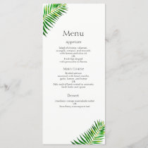 Tropical green palm leaves wedding menu