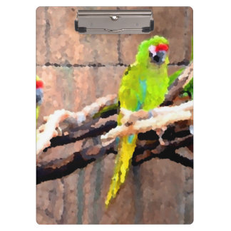 tropical green parrots painted look clipboard