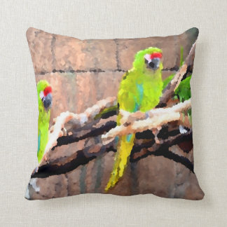 tropical green parrots painted look pillows