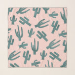 """Tropical green watercolor cactus pattern pink scarf<br><div class=""""desc"""">Tropical green watercolor cactus cacti pattern pastel pink by Girly Trend</div>"""