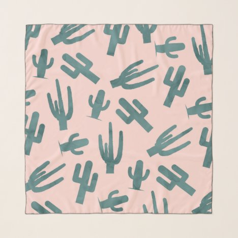 Tropical green watercolor cactus pattern pink scarf