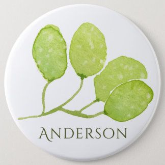 TROPICAL GREEN WATERCOLOR FOLIAGE LEAF  MONOGRAM PINBACK BUTTON