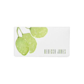 TROPICAL GREEN WATERCOLOUR FOLIAGE LEAF  MONOGRAM CHECKBOOK COVER