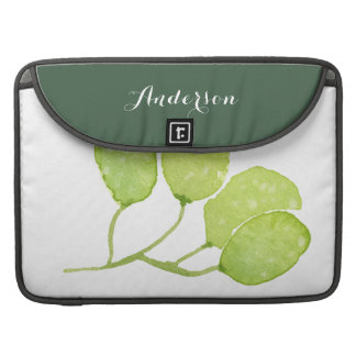 TROPICAL GREEN WATERCOLOUR FOLIAGE LEAF  MONOGRAM MacBook PRO SLEEVE