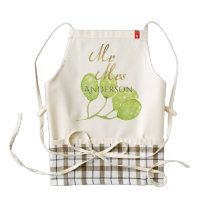 TROPICAL GREEN WATERCOLOUR FOLIAGE LEAF  MONOGRAM ZAZZLE HEART APRON