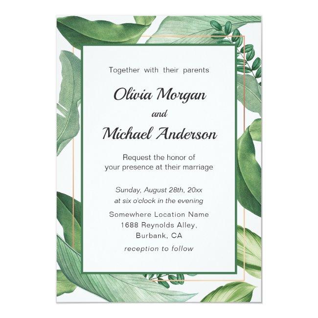 Tropical Greenery and Gold frame. Modern Wedding Invitation