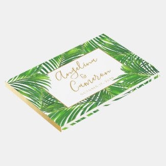 Tropical Greenery Palm Beach Destination Wedding Guest Book